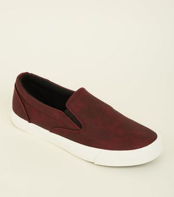 Dark Red Faux Snakeskin Slip On Trainers