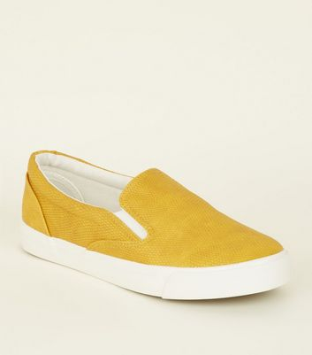 Yellow Faux Snakeskin Slip On Trainers