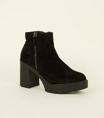 Black Suedette Zip Side Chunky Heel Ankle Boots