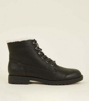 Black Lace Up Shearling Trim Boots by New Look