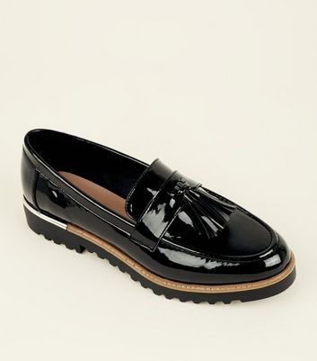Black Patent Tassel Front Chunky Loafers