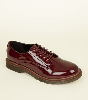 Dark Red Patent Chunky Lace Up Shoes