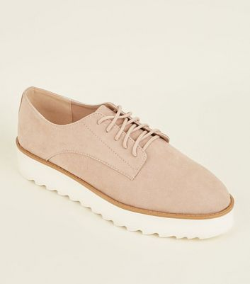 Pink Suedette Lace Up Flatforms