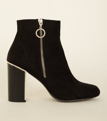 Black Suedette Metal Heel Ankle Boot