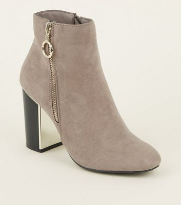 Light Brown Suedette Metal Heel Ankle Boots