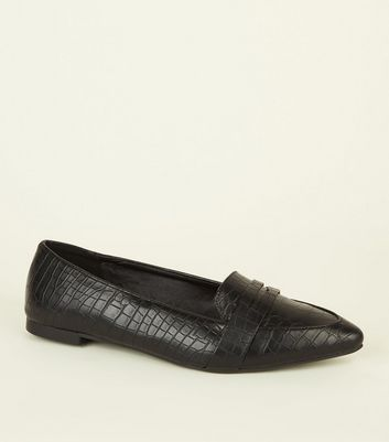 Black Faux Croc Pointed Penny Loafers