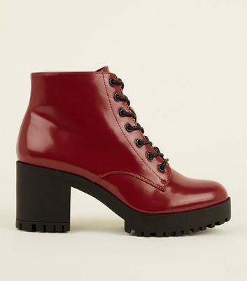 Dark Red Patent Lace Up Chunky Ankle Boots