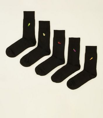 5 Pack Black Vegetable Embroidered Socks