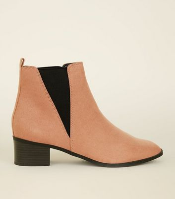 Wide Fit Pink Suedette Low Heel Chelsea Boots by New Look