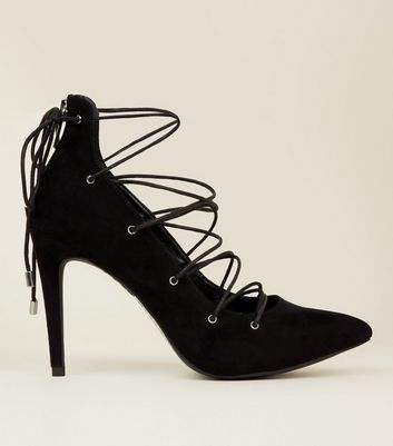 Black Suedette Pointed Lace Up Court Shoes