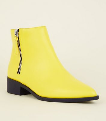 Wide Fit Yellow Block Heel Ankle Boots