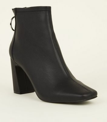 Black Leather-Look Ring Zip Flare Heel Ankle Boots