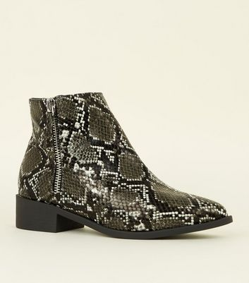 Wide Fit White Faux Snake Print Side Zip Ankle Boots