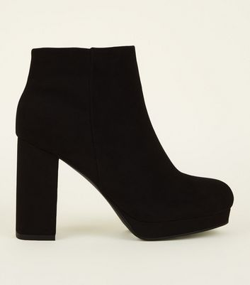 Wide Fit Black Square Toe Platform Ankle Boots
