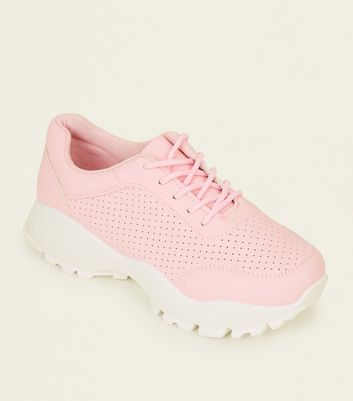 Pink Perforated Lace Up Chunky Trainers