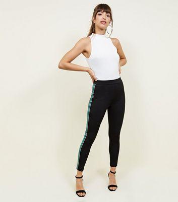 Black Metallic Side Stripe Leggings by New Look