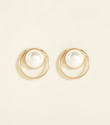 Gold Double Ring Faux Pearl Earrings