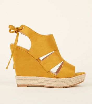 Mustard Suedette Cut Out Tie Back Wedges