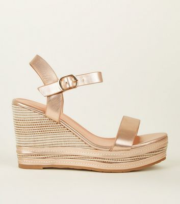 Rose Gold Metallic Two Part Espadrille Wedges