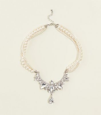 Cream Vintage Style Diamanté Faux Pearl Necklace