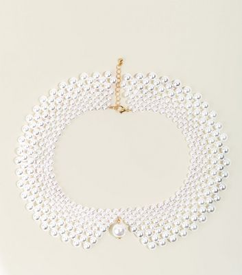 Cream Faux Pearl Collar Necklace