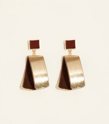 Rust Velvet and Metal Fold Over Earrings