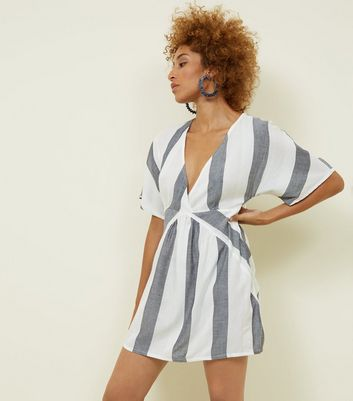 Apricot White Stripe Tunic Dress by New Look