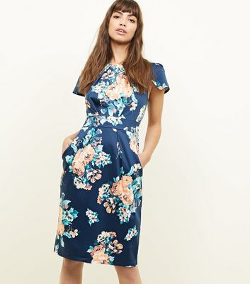 Apricot Navy Floral Tulip Dress
