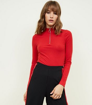 Red High Neck Ribbed Top
