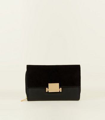 Black Leather-Look Push Lock Purse