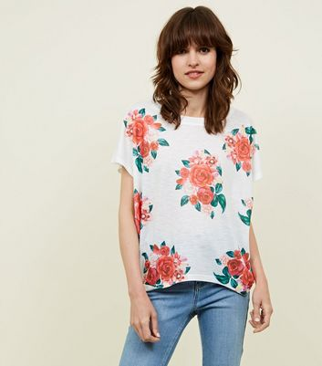 Blue Vanilla White and Red Rose Print Frill Sleeve Top