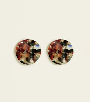 Multicoloured Marble Irregular Round Stud Earrings by New Look