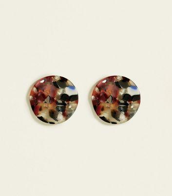 Multicoloured Marble Irregular Round Stud Earrings by New Look