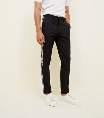 Grey Side Stripe Skinny Trousers