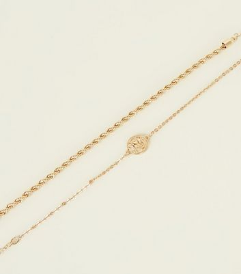 2 Pack Gold Coin And Twist Chain Anklets by New Look