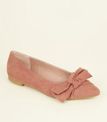 Pink Suedette Bow Pointed Ballet Pumps
