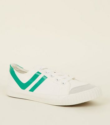 Green Stripe Canvas Trainers