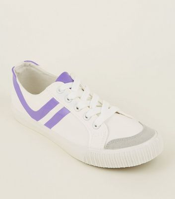 Lilac Stripe Canvas Trainers