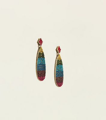 Rainbow Stone Embellished Teardrop Earrings