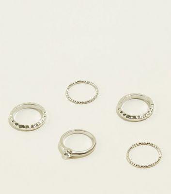 Silver Sparkle Diamanté Ring Set by New Look