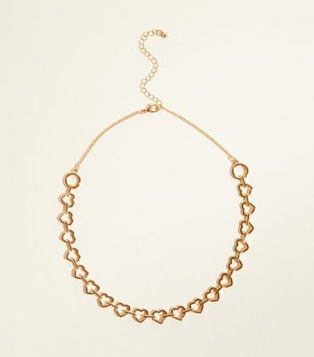 Gold Heart Chain Collar Necklace