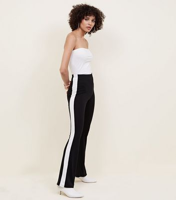 Black Side Stripe Ribbed Flared Trousers