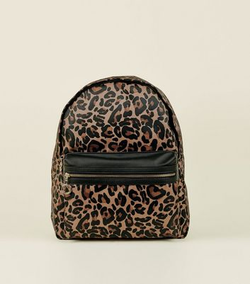 Brown Leopard Print Backpack