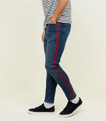Blue Mid Wash Side Stripe Skinny Stretch Jeans