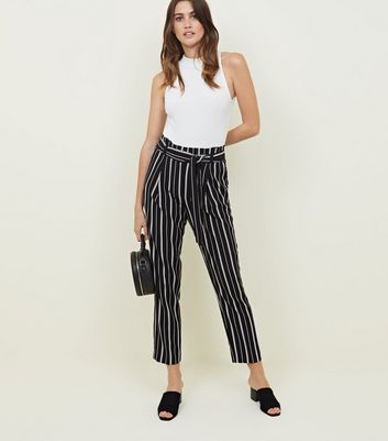 Tall Black Stripe Paperbag WaistTrousers