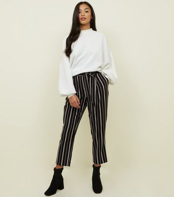 Petite Black Stripe Tapered Trousers