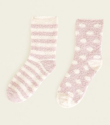 2 Pack Pink Spot and Stripe Fluffy Socks