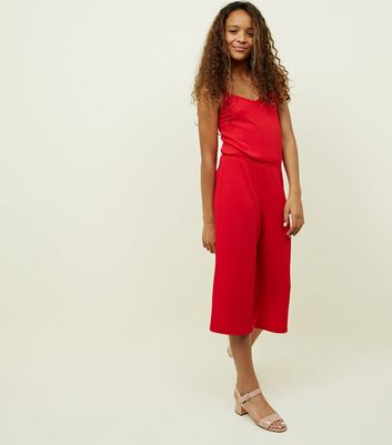 Girls Red Ribbed Strappy Jumpsuit