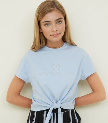 Girls Pale Blue Embroidered Slogan Tie Front T-Shirt