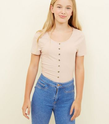 Girls Pale Pink Ribbed Button Front T-Shirt